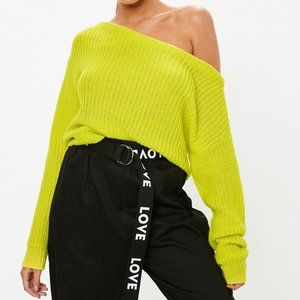 Missguided Neon Yellow Cropped Knit Sweater